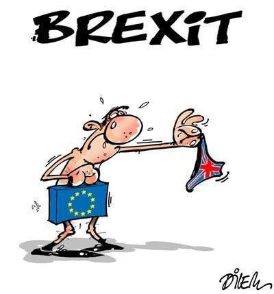The EU hands Britain its speedo bathing suit back.. Suit is UK flag.