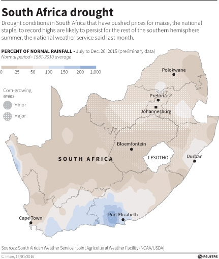 Severe drought conditions extend across South Africa and beyond during the current southern hemisphere summer.