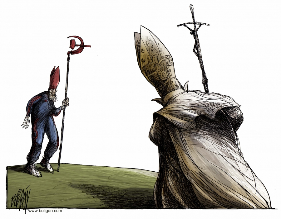 Drawn during Pope Benedict's visit to Cuba in 2012. He was the second Pope to visit Communist Cuba