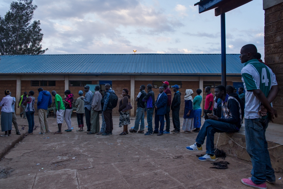 Kenyans stood in lines late into Tuesday night in order to cast their vote for their next president. Technical hangups, mis-delivered ballots and weather delays mean voters several counties will continue submitting ballots late into the night.