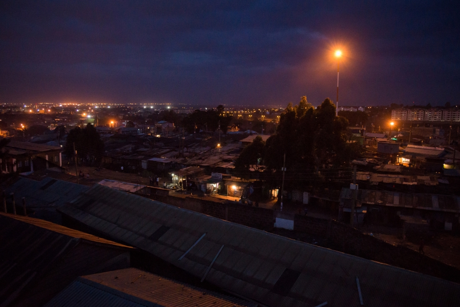 Night falls on Kibera, an informal settlement in Nairobi, Kenya. Much of the 2007/2008 post-election violence occurred in and around Kibera. Tonight, it is quiet.