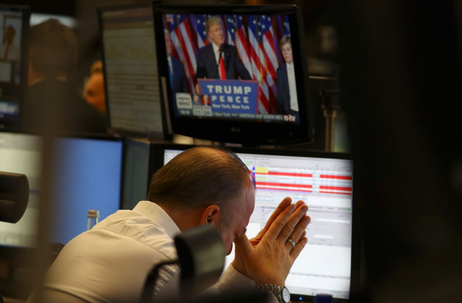 A trader at the stock exchange reacts to the US election in Frankfurt.