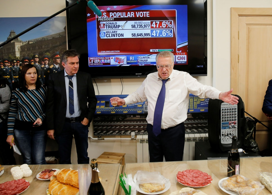 Head of the Liberal Democratic Party of Russia Vladimir Zhirinovsky celebrates Donald Trump's election as president by drinking sparkling wine with other party members in Moscow.