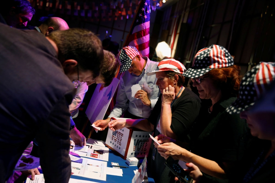 Attendees at a US presidential election night event at the US Embassy in Tel Aviv.