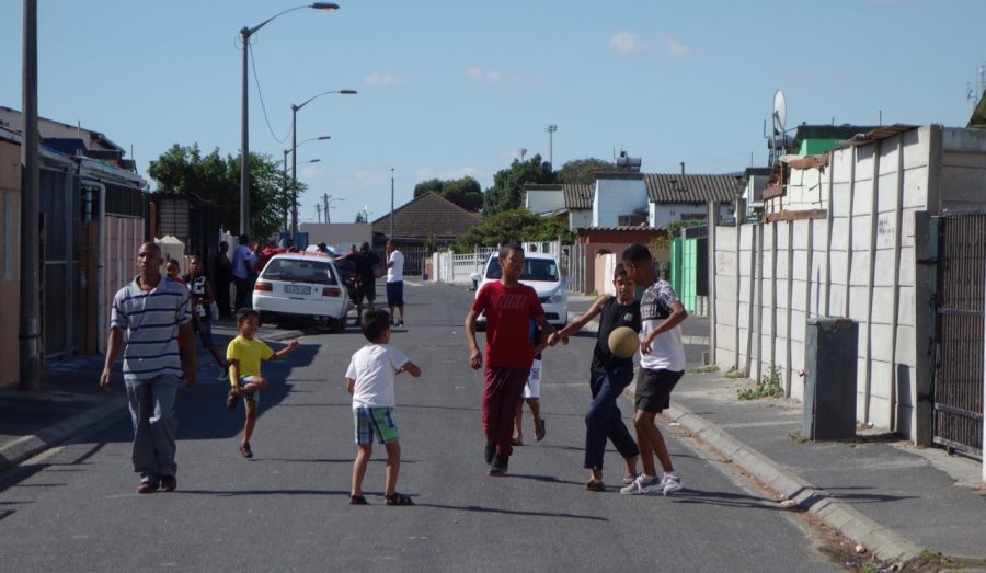 Playing soccer in Elsie's River, one of the Cape Flats communities outside Cape Town, in South Africa