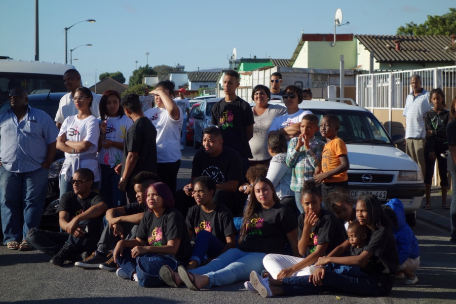 Teenagers hanging out in Elsie's River, one of the Cape Flats communities outside Cape Town, in South Africa