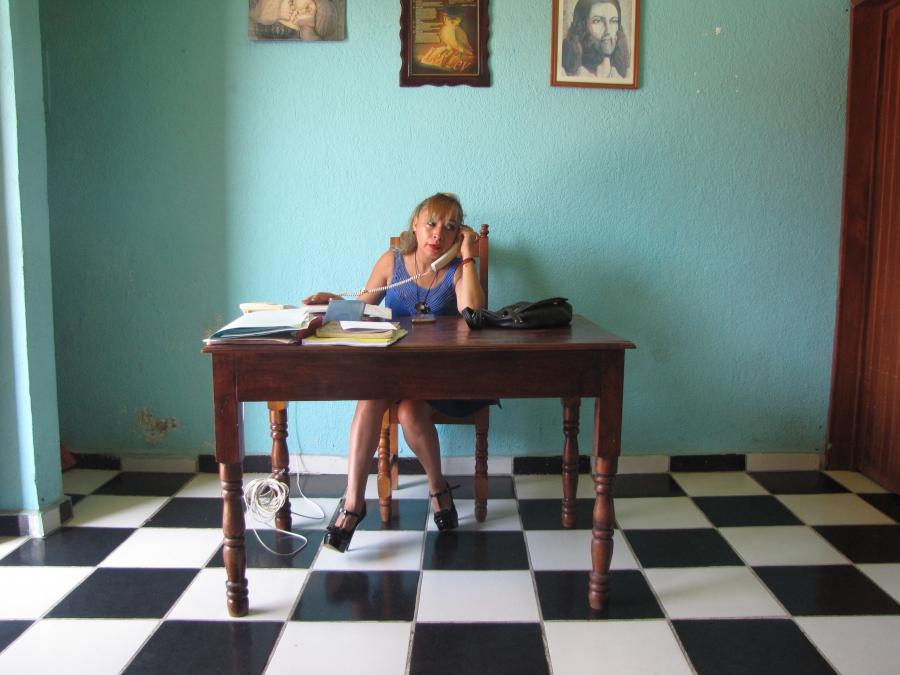 Attorney Elvira Gordillo Rivera sitting behind her desk in her office in downtown Frontera Comalapa, Chiapas, Mexico.