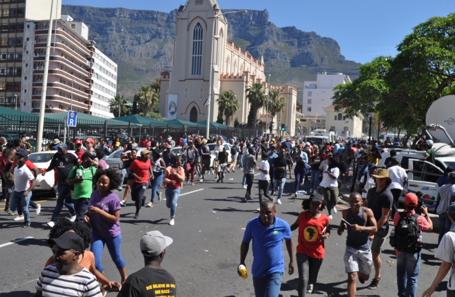 The scene at a student protest in Cape Town last month
