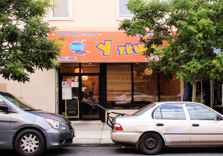 """Cafe """"At your Mother-in-Law"""" in the heart of Brooklyn's Brighton Beach neighborhood."""