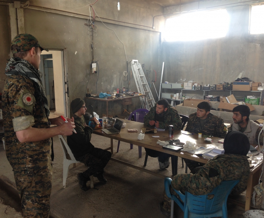 Lucas Chapman at a training session in Rojava, northern Syria.