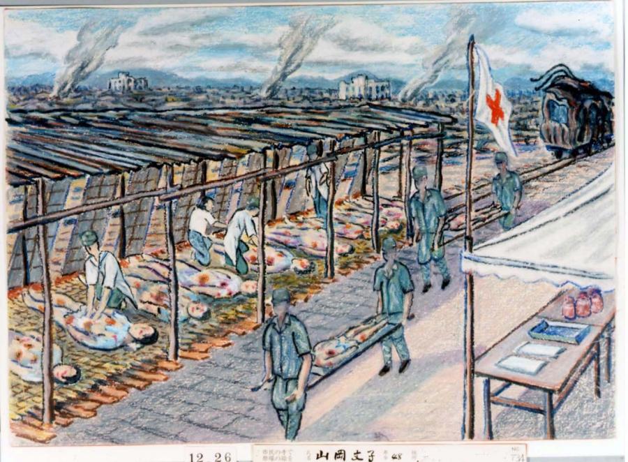 Drawing by atomic bomb survivor Fumiko Yamaoka.