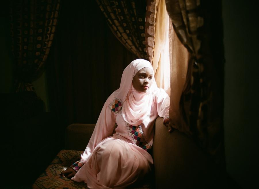 Novelist Farida Ado at her home.