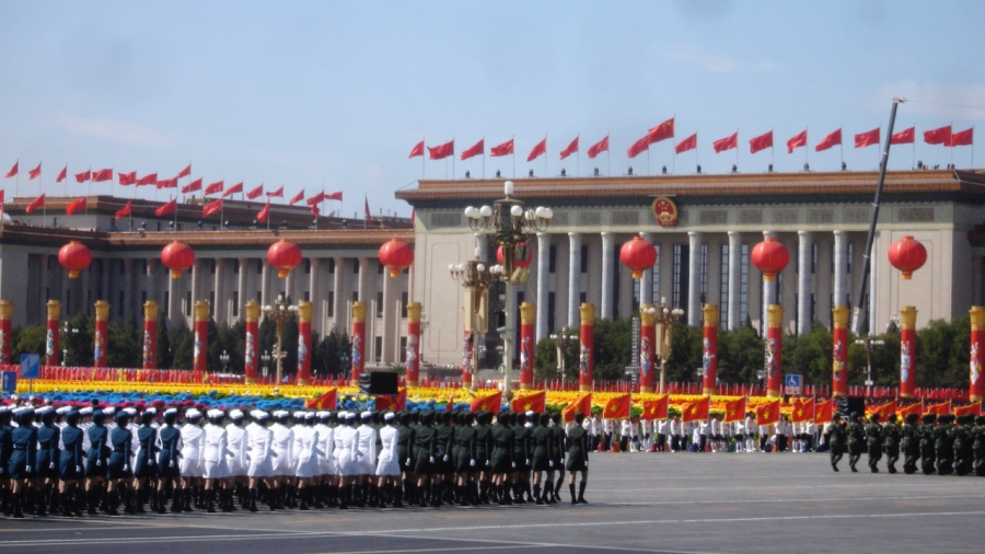 Military parade in front of the Great Hall of the People in Beijing, to mark the 60th anniversary of Chinese Communist Party rule, in 2009