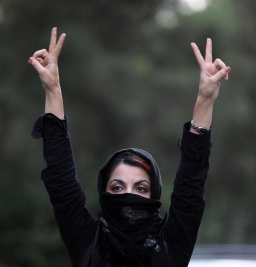 An Iranian woman protests election results in the streets on July 9, 2009 in Tehran.