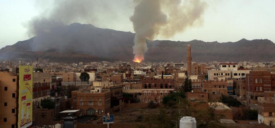 Smoke billows following an airstrike by the Saudi-led coalition on May 11, 2015, in the Yemeni capital, Sanaa.