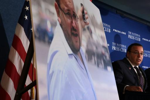 Ali Rezaian, brother of Washington Post Tehran bureau chief Jason Rezaian, during a news conference at the National Press Club July 22, 2015 in Washington, DC.