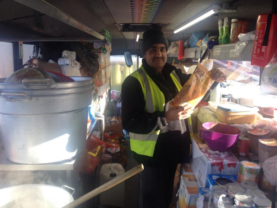 "Ghafoor Hussain is the chef in his mobile kitchen. He says his family thinks he's ""a bit mad."""