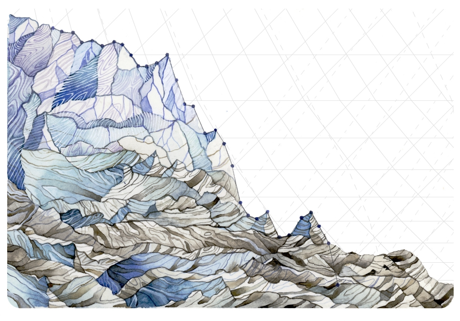 """""""Decrease in Glacier Mass Balance"""" uses measurements from 1984-2015 of the average mass balance for a group of North Cascade, Washington glaciers. Mass balance is the annual budget for glaciers, entailing total snow accumulation minus total snow ablation."""