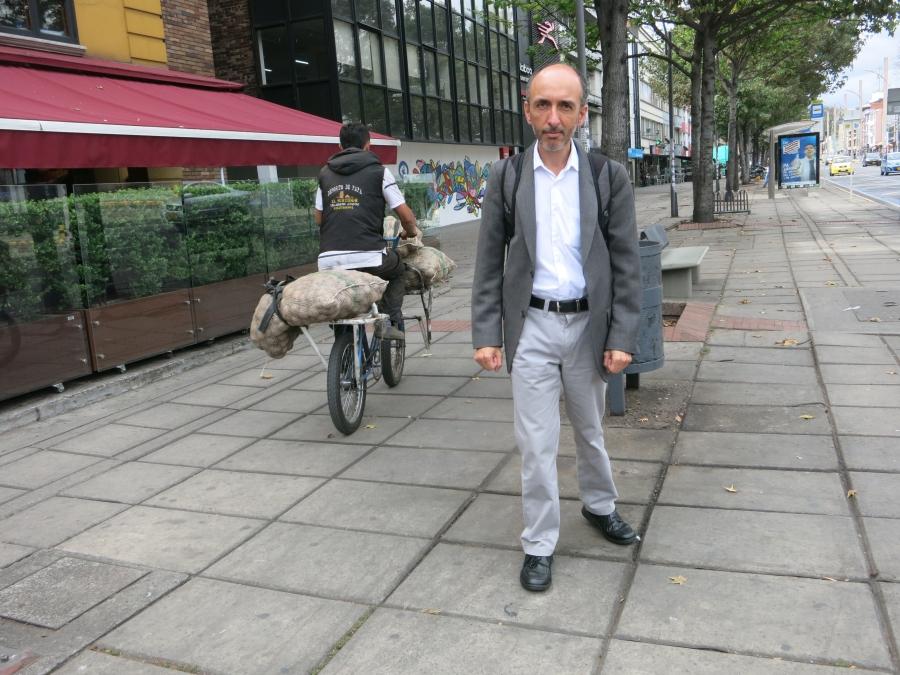 Bogotá has many extra-wide sidewalks, ideal for walkers like Luis Fernando Gomez.