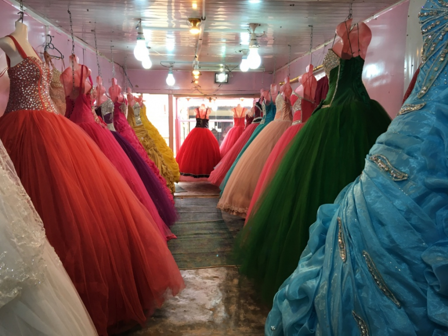 Inside a wedding dress store in Zaatari refugee camp.