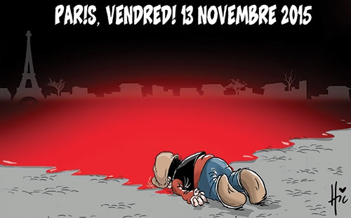 Algerian cartoonist Le Hic uses the powerful imagery of Aylan Kurdi, the young boy who was found dead on a Turkish beach after drowning while trying to migrate to Europe. Aylan Kurdi's image moved the world and Le Hic is making two points: those who died in Paris are as precious as Aylan Kurdi. He's also suggesting that more people like Aylan Kurdi could die if European countries react to the ISIS attacks in Paris by closing their borders. (Le Hic, Algeria)
