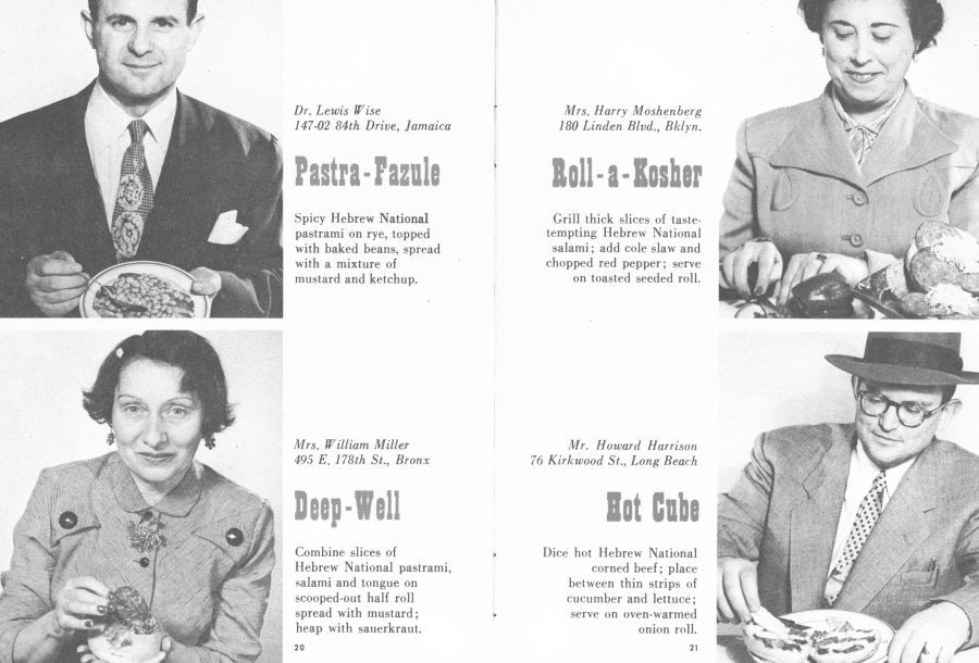 Ordinary New Yorkers with their sandwich creations depicted in a 1950s Hebrew National Promotion booklet.