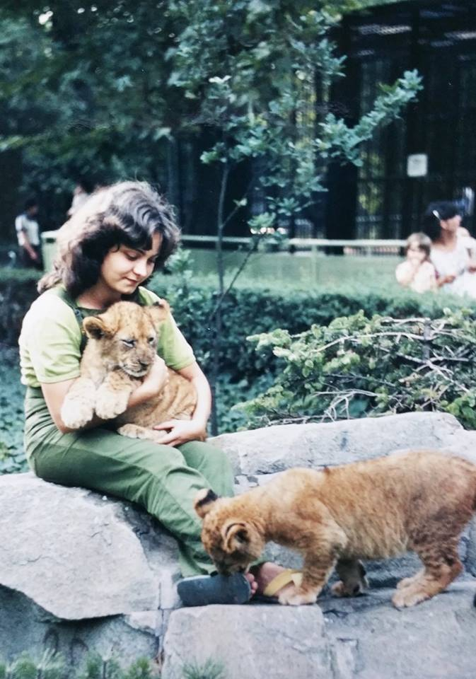 Hilda Tresz and lions at the Budapest Zoo