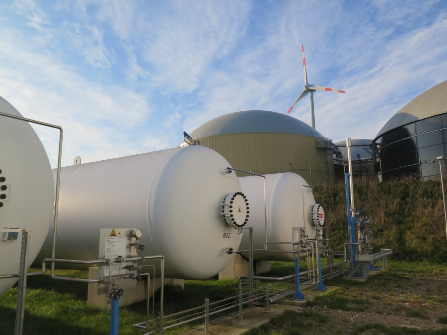 Pressurized tanks hold hydrogen gas at Enertrag's new hybrid power plant in Prenzlau, German. The plant is the first in the world to directly use wind-generated electricity to create hydrogen fuel.