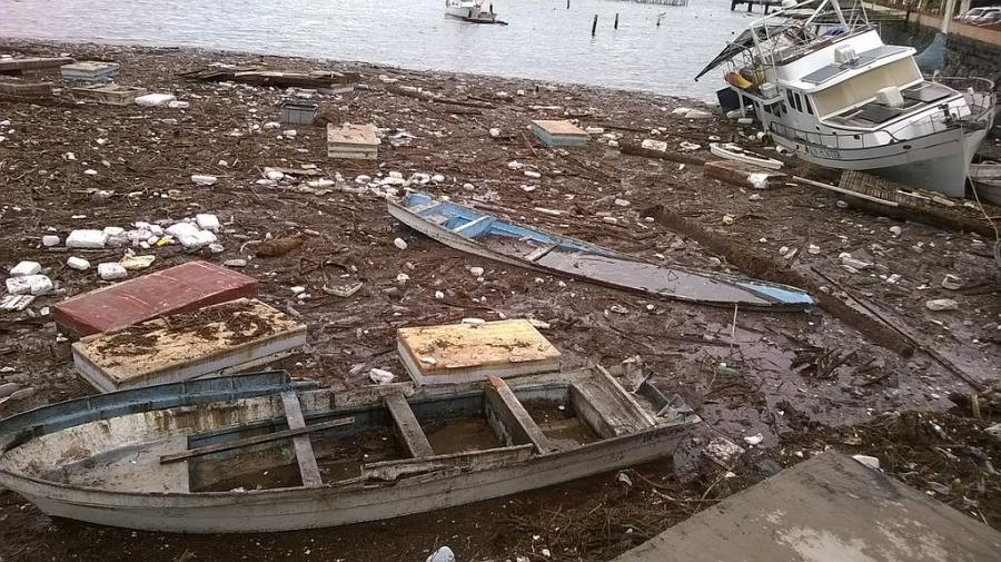 Damage in Santa Rosalia, Baja California Sur, following Hurricane Odile