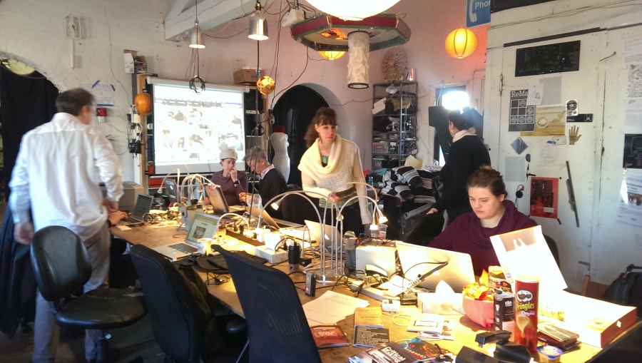 Members of the hacker collective NYC Resistor at taking part in a zinemaking workshop.