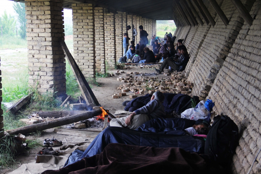 Migrants from Syria, Iraq, Afghanistan, Pakistan and Eritrea seek refuge at an abandoned brick factory near the Serbian-Hungarian border.