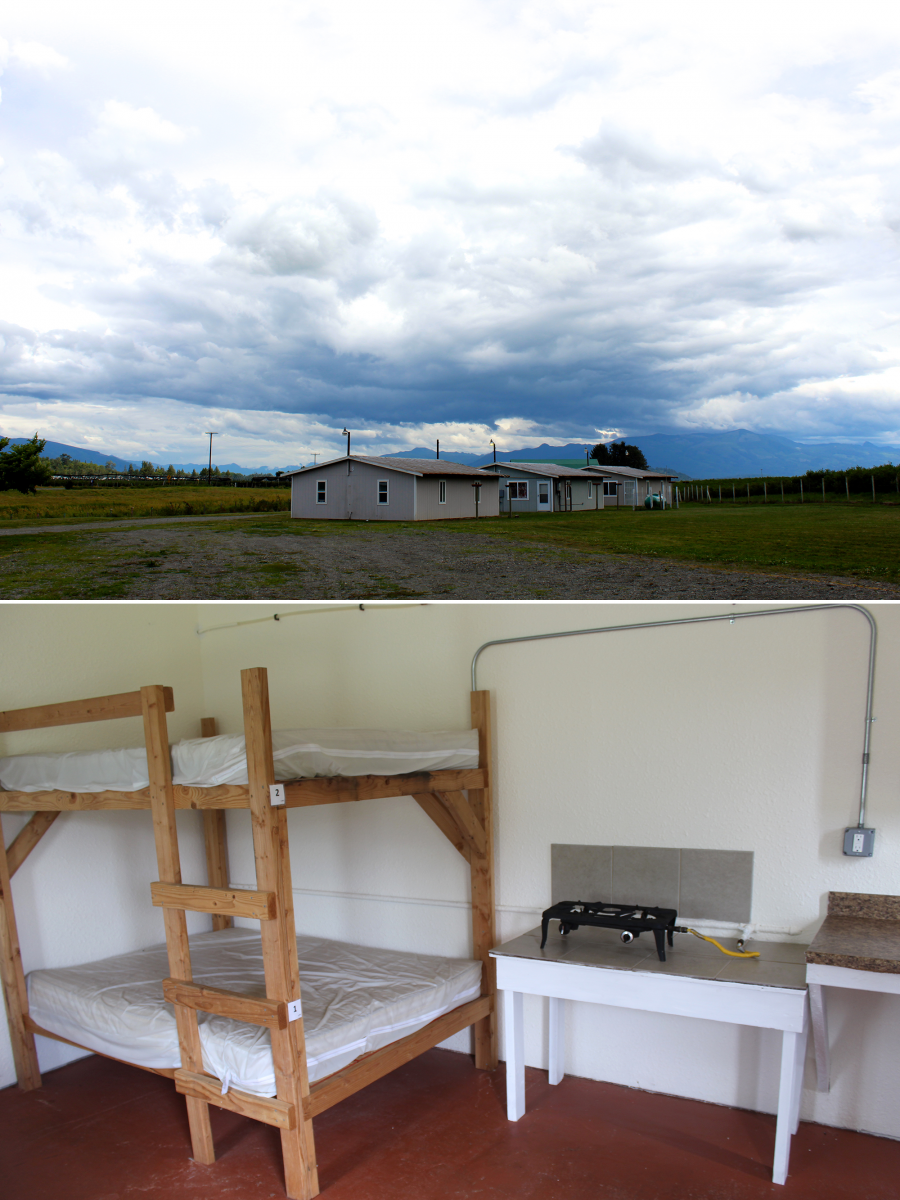 top image shows row of simple housing under big sky, bottom simple room with plain bunk bed, burner and sink