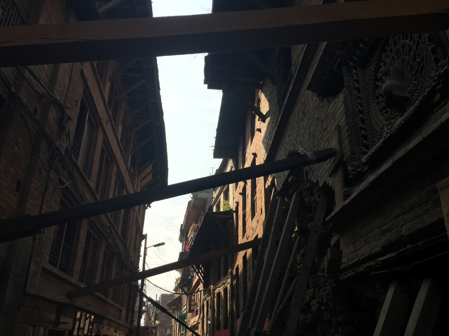 Earthquake-damaged buildings in the historic city of Bhaktapur. Nepalese officials want tourists to know the city is ready for visitors.