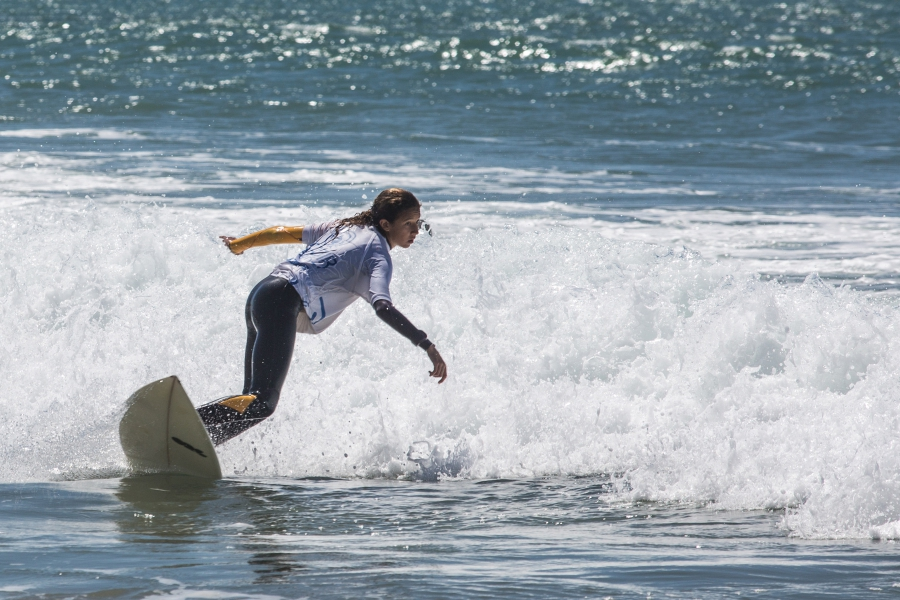 Lilias Tebbaï 12 is a rising talent. Here she rides the surf in Morocco.