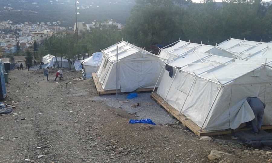 The shelter in Samos, Greece, where migrants have to await the authorities' decision of what to do with them next.