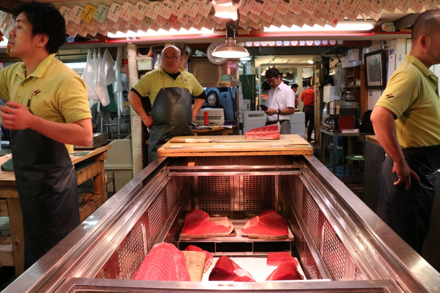 Fish sellers at Tsukiji display some of the world's highest quality tuna and some of the most expensive too.