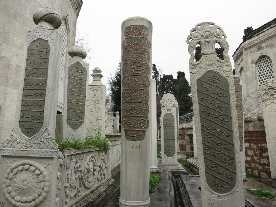 Tombstones in a cemetery next to the Eyup Sultan Mosque in Istanbul. The epitaphs are written in Ottoman Turkish, which most modern Turks can't read or understand.
