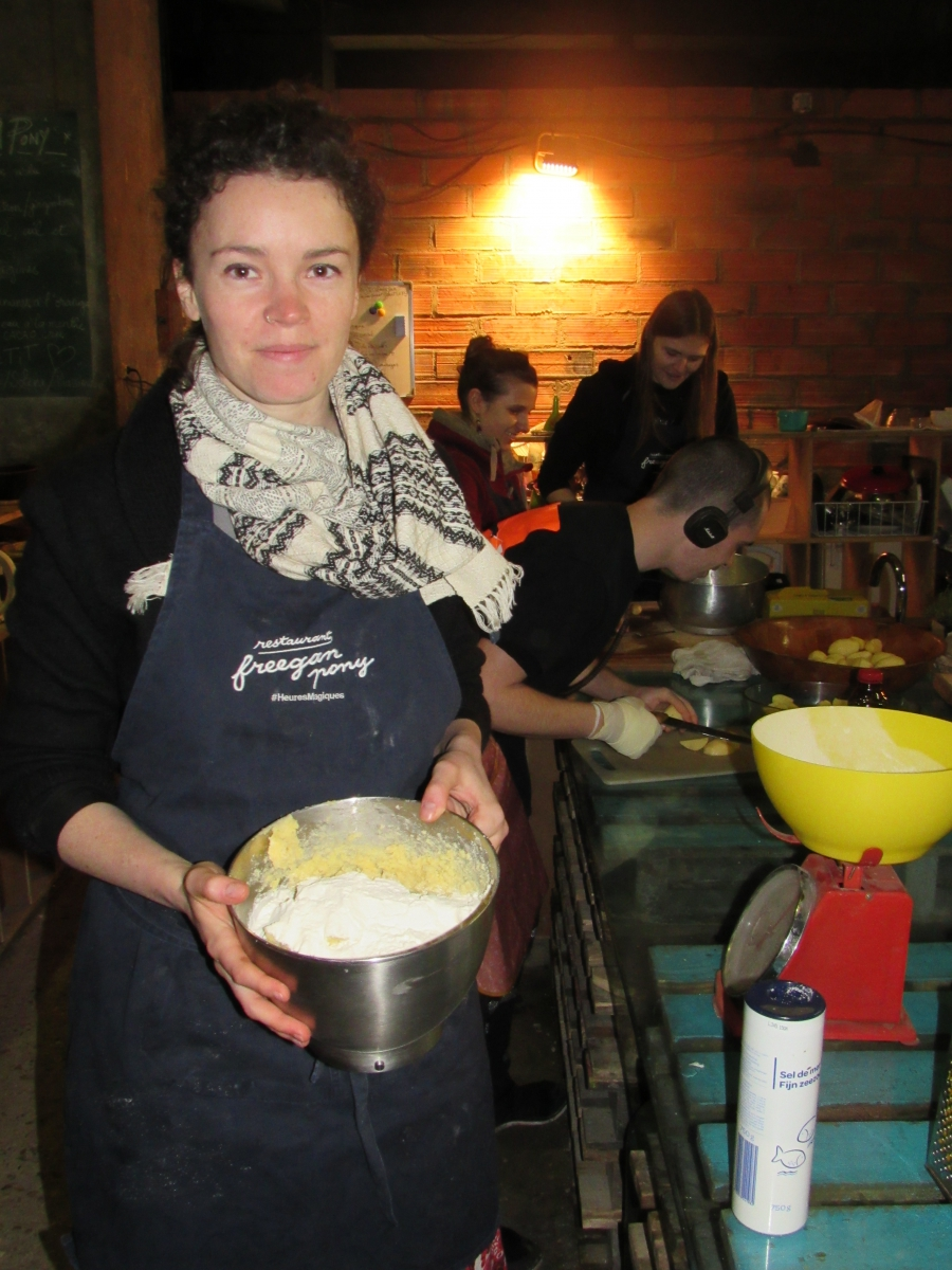 Freegan Pony pastry chef Frances Leech shows off shortbread cookies, in process.
