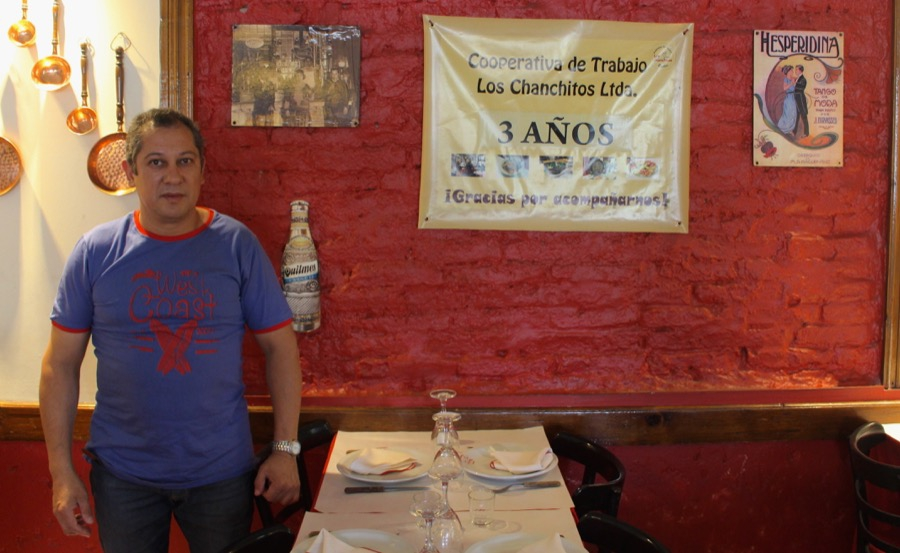 José Pereyra, one of the employees who took over the Argentine restaurant, Los Chanchitos.