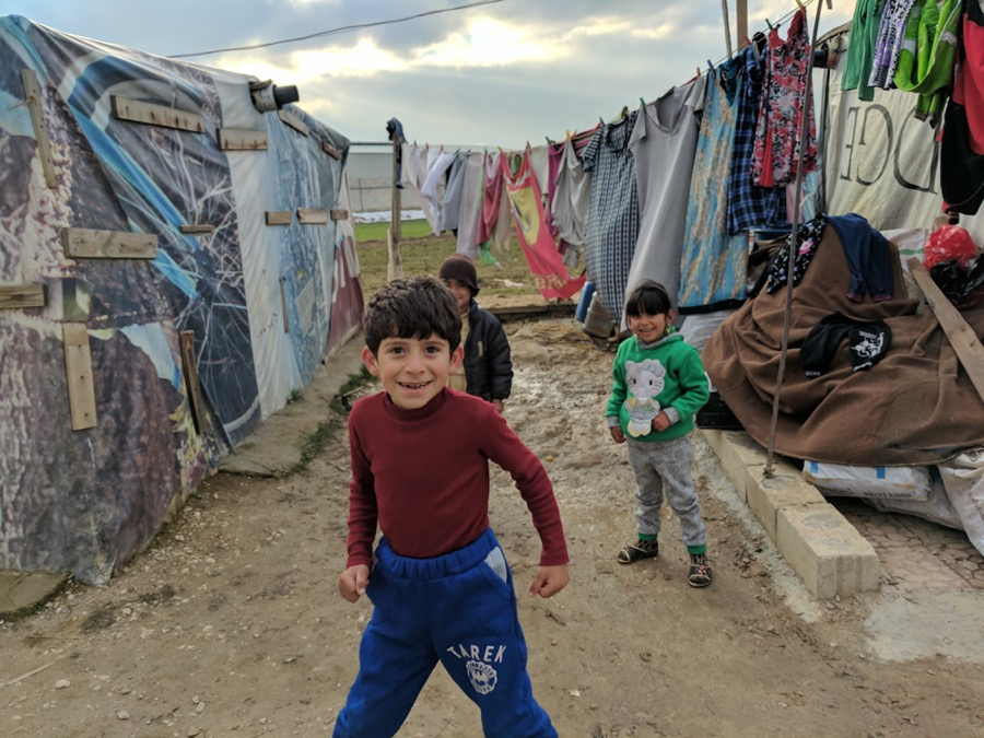 Syrian children playing around the refugee camp in eastern Lebanon.