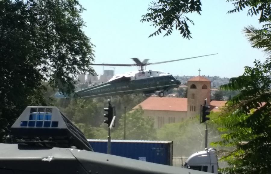 Marine One lands in southeast Jerusalem on Monday.