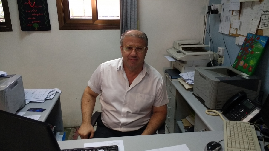 Dr. Wassaf Khatar at his office in Majdal Shams. He remains loyal to Syria.