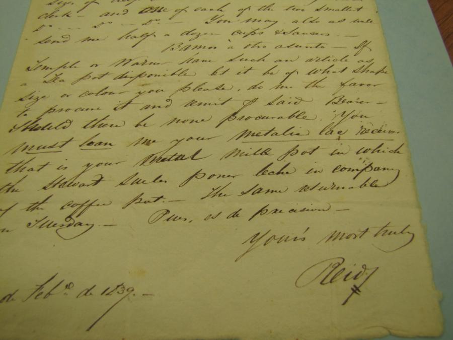 Letter from Hugh Reid to Abel Stearns