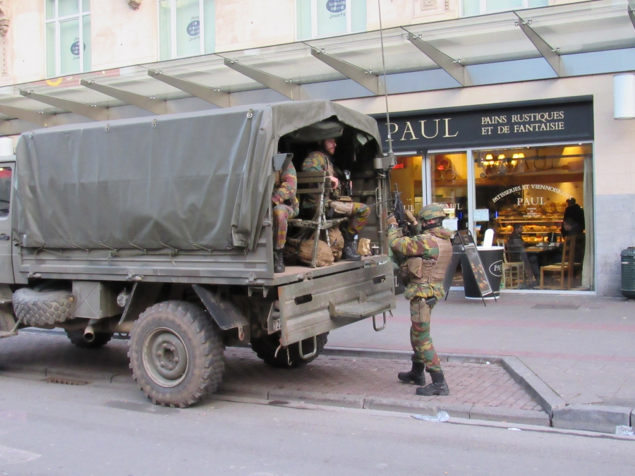 A Belgian military truck parked in downtown Brussels.