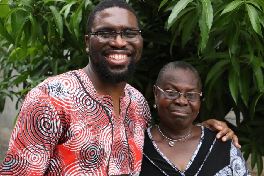 Nkem Ifejika with his mother Brigitte Okirie.