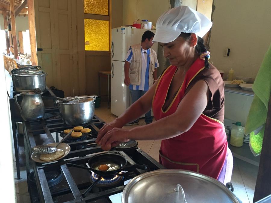 The kitchen at El Balcon Restaurante in Jericho, Colombia.