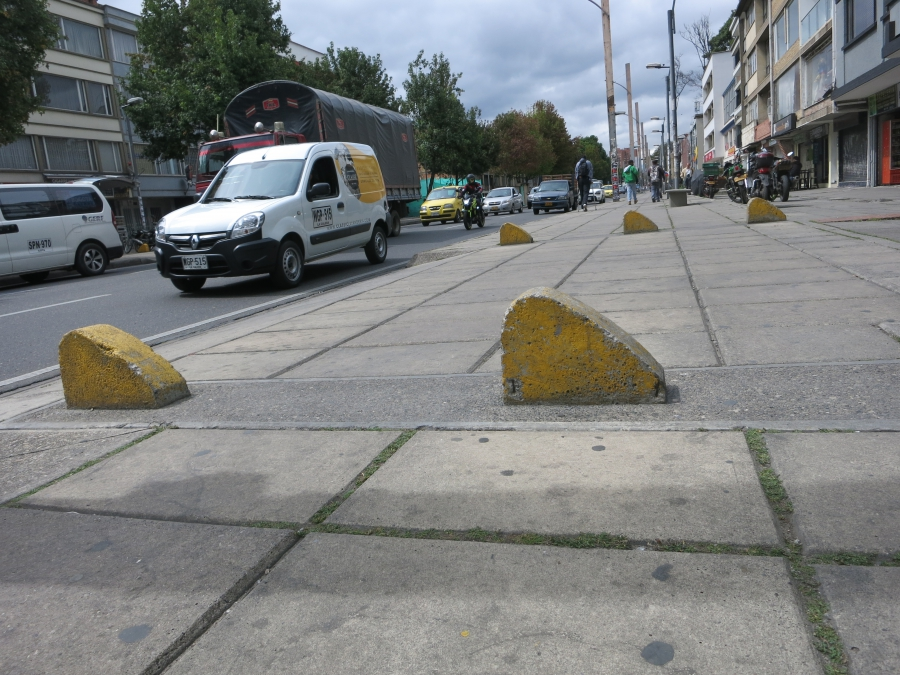 Traffic barriers and bollards were installed throughout Bogotá to prevent cars from parking on city sidewalks.