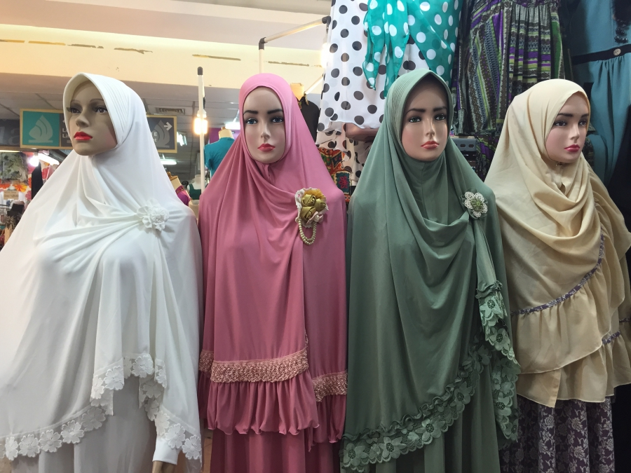 Shopping at Thamrin City, a Jakarta mall that features Muslim apparel.
