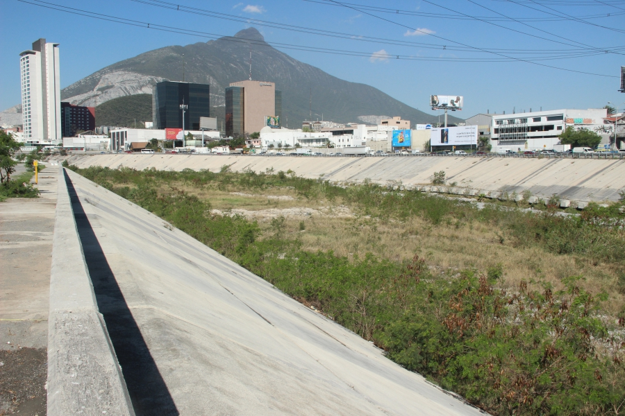 The Santa Catarina River in Monterrey runs dry most of the year. The riverbed used to be filled with stalls, vendors and athletic fields, prior to Hurricane Alex.