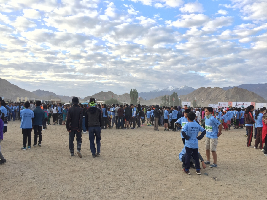 Local children collect before participating in the 7K 'Run for Fun' at the Ladakh Marathon.